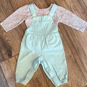 Onesie Overalls with Flowered Shirt